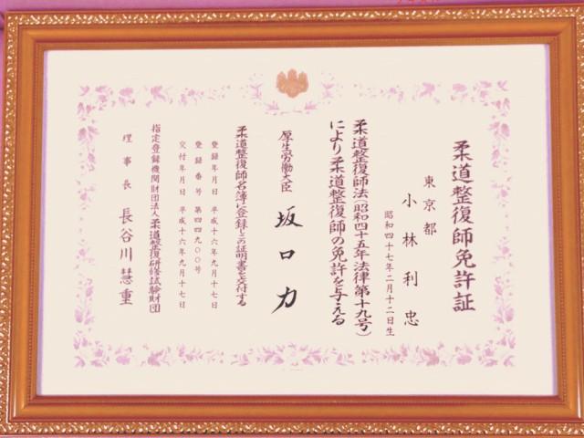柔道整復師免許(厚生労働省の国家資格者)