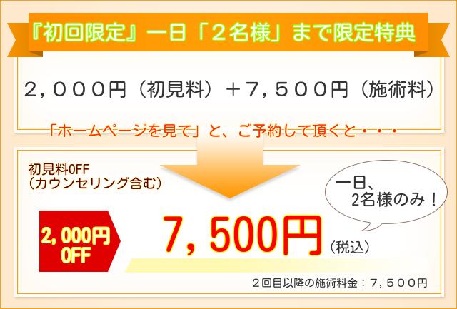 初回限定一日2名様まで限定特典 初見料2000円OFF 7500円(施術料金)2回目以降:7500円