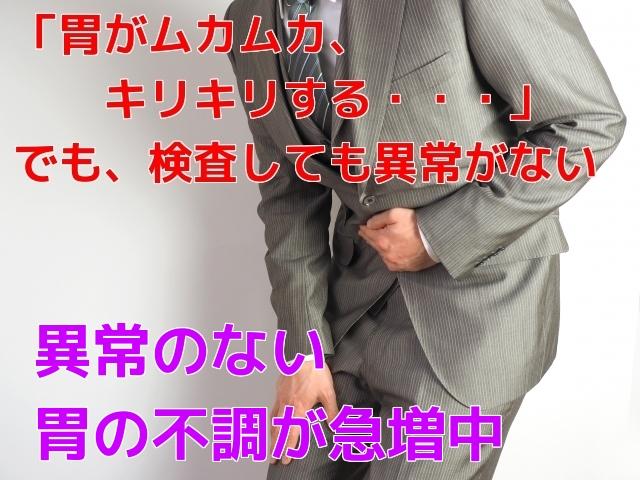 胃がムカムカ、キリキリする でも検査しても異常がない 異常のない胃の不調が急増中